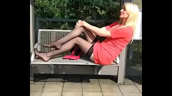 Nylon feet, Shoeplay, Sexy feet, Mature feet, Mature blonde